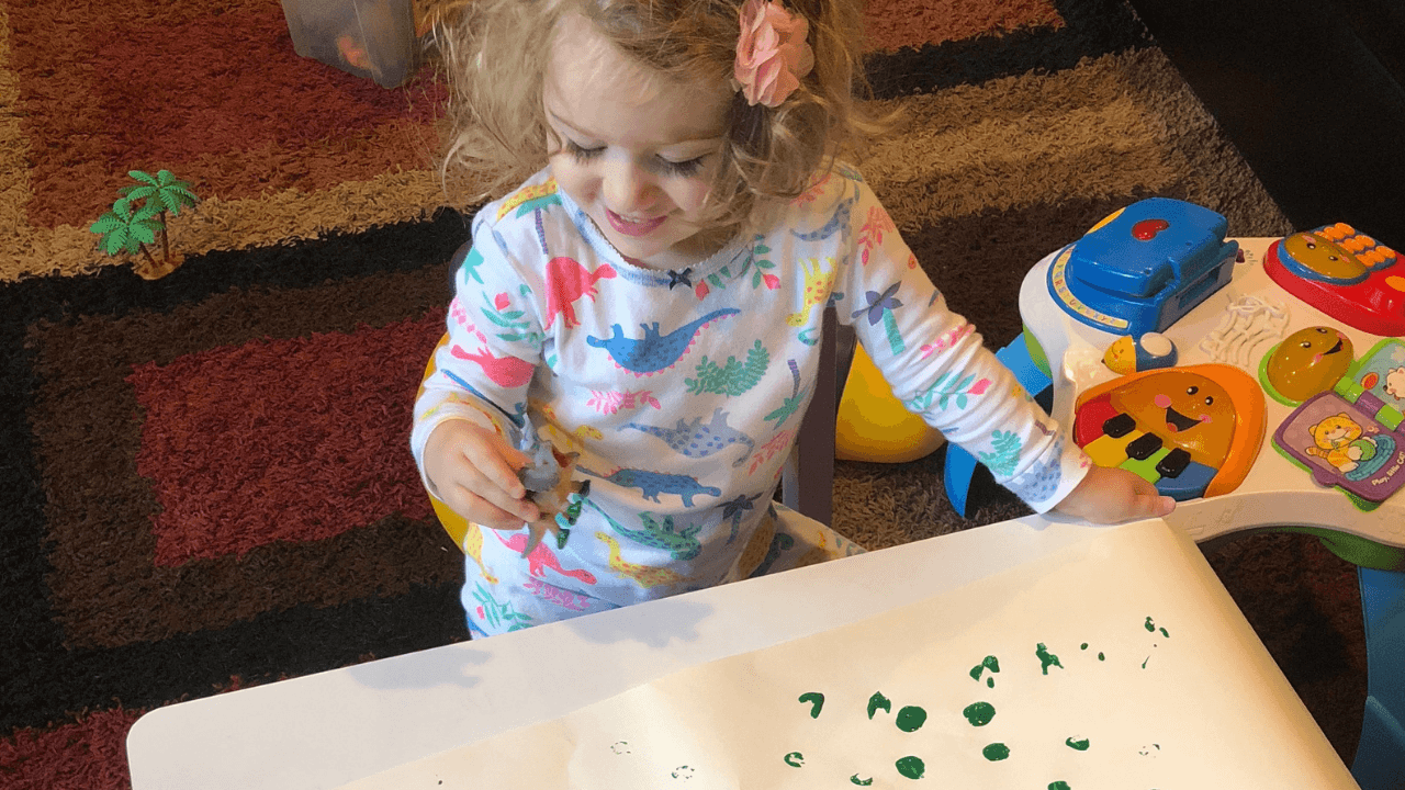 Create Dinosaur Footprints with paint
